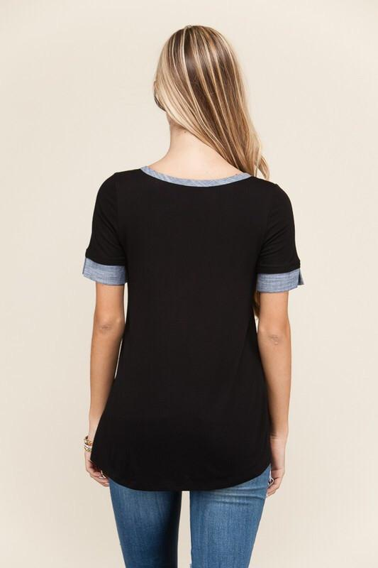 Contrast Tee with Pocket Detail