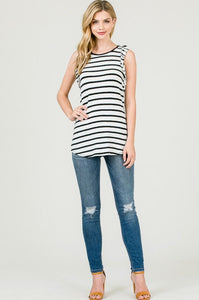 Jamie Striped Tank - white