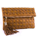Stitched Flapover Clutch with Chain Strap