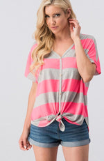 Christine V Neck Button Top