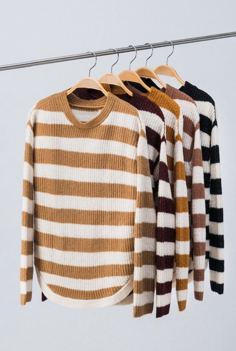 Mandy Camel Striped Round Neck Knit Sweater