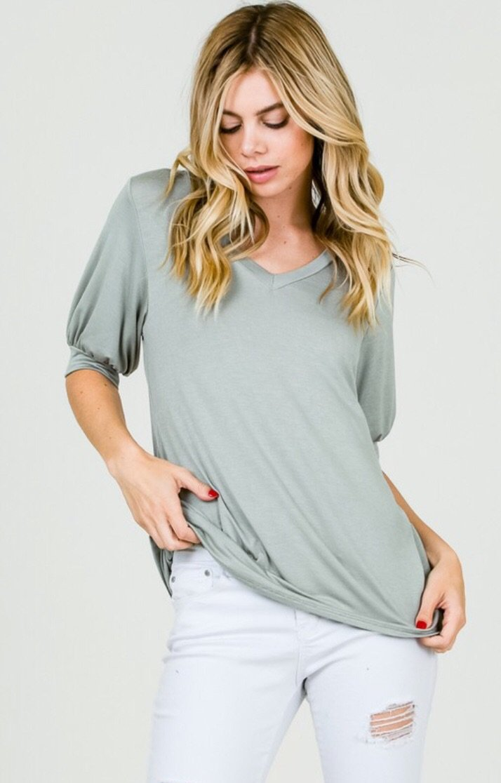Sara Sage Puffy Sleeve Top