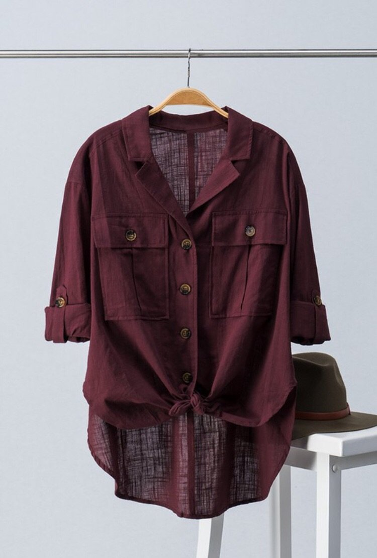 Tracy Linen Button Down- Wine or Black