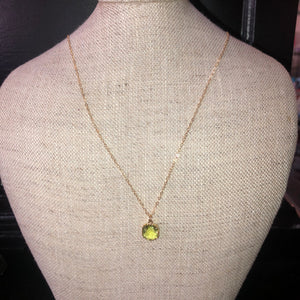 Laalee Jewelry -Citrine Gemstone Glass Necklaces, Dainty Minimalist Necklace