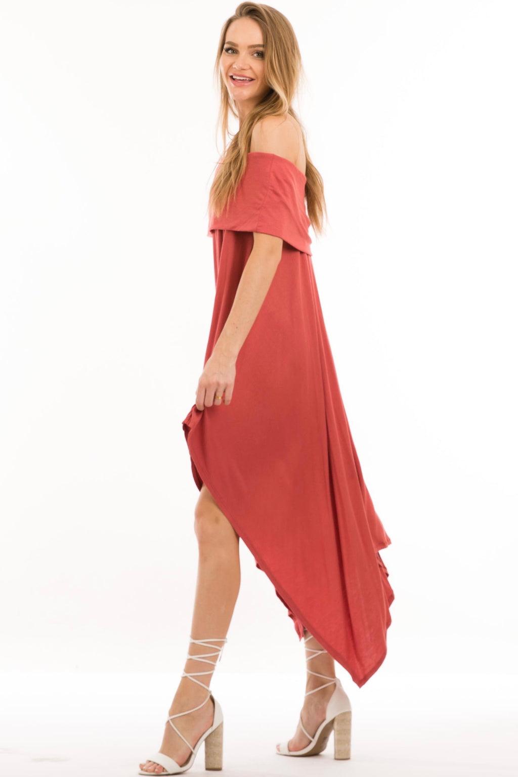 Rust Off Shoulder Maxi Dress with Pockets