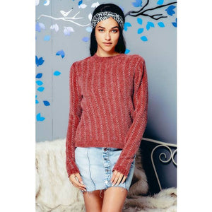 CHENILLE KNIT PULLOVER WITH LUREX X STITCHING