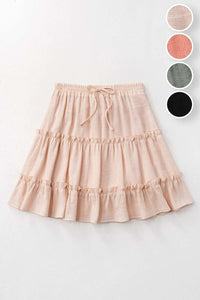 Tiered Mini Skirt Natural
