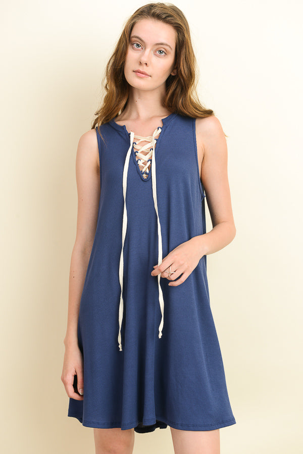Sleeveless Navy Dress with Cream Lace Up V-Neck