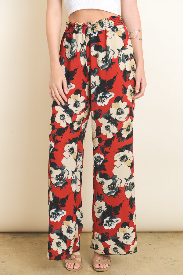 Red Floral Pants