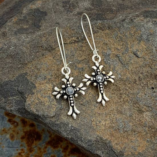 Copy of Buffalo Girls Salvage - Silver Swarovski Cross Earrings - Religious Christian Jewelry