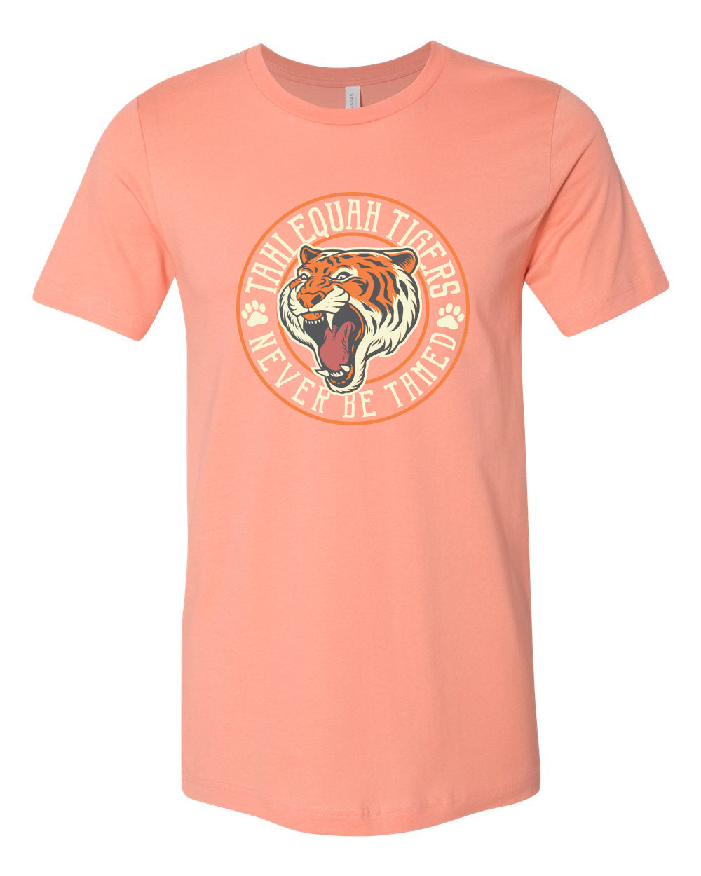 """NEVER BE TAMED"" TAHLEQUAH TIGER T-SHIRT"