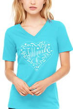 Tahlequah Heart - WOMEN'S RELAXED JERSEY SHORT SLEEVE V-NECK TEE