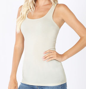 Ribbed Racerback Tank Top White