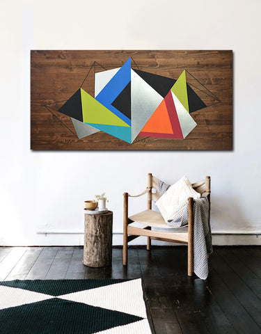 Mod Wood Art | Geometric Illumination 48x24