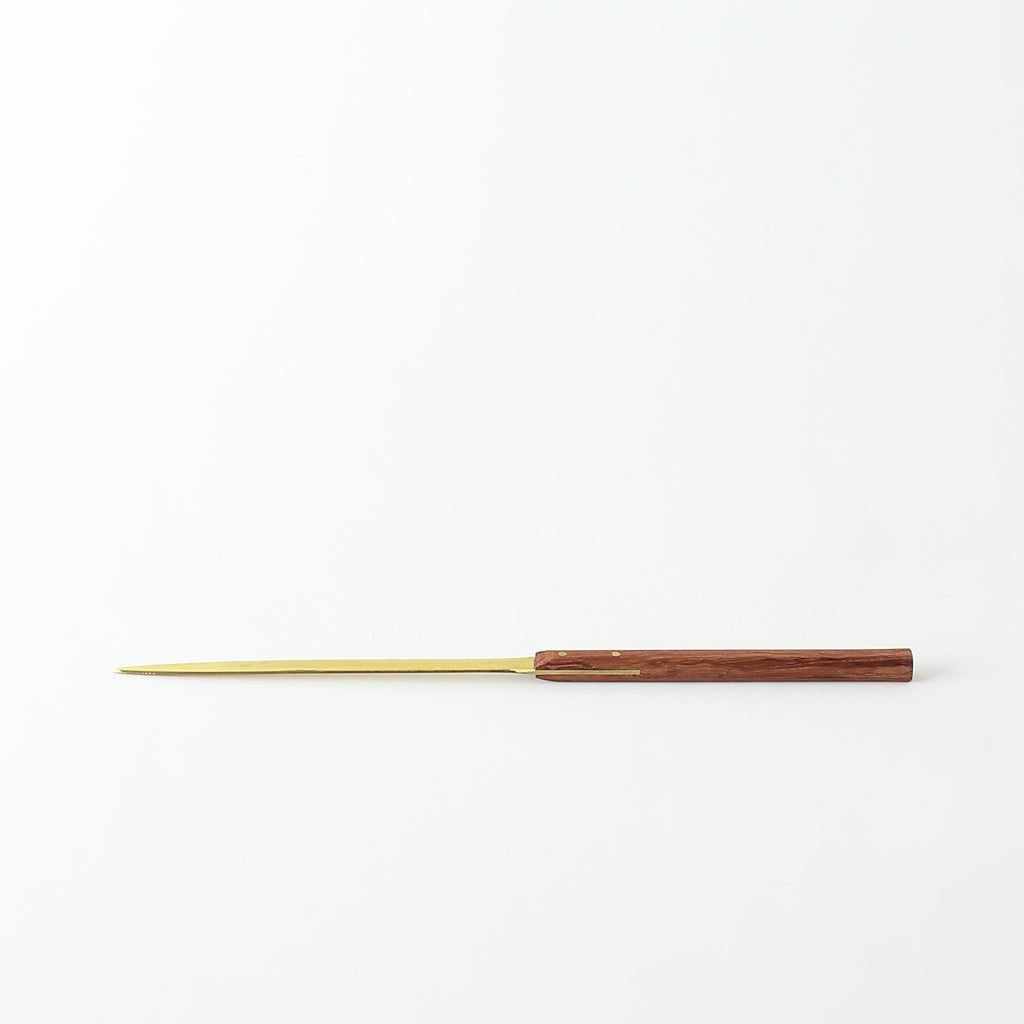 Brass Letter Opener - Brown Wood Handle