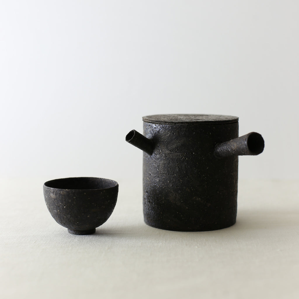 Handcrafted, Handmade, Artisan, Japanese, Ceramic, Pottery, Tea Pot, Black, Chahai Small Cup, Homeware, Kitchenware, Tableware, Monochromatic, Beautiful Quality, Unique, Art, Minimal, Made in Japan.
