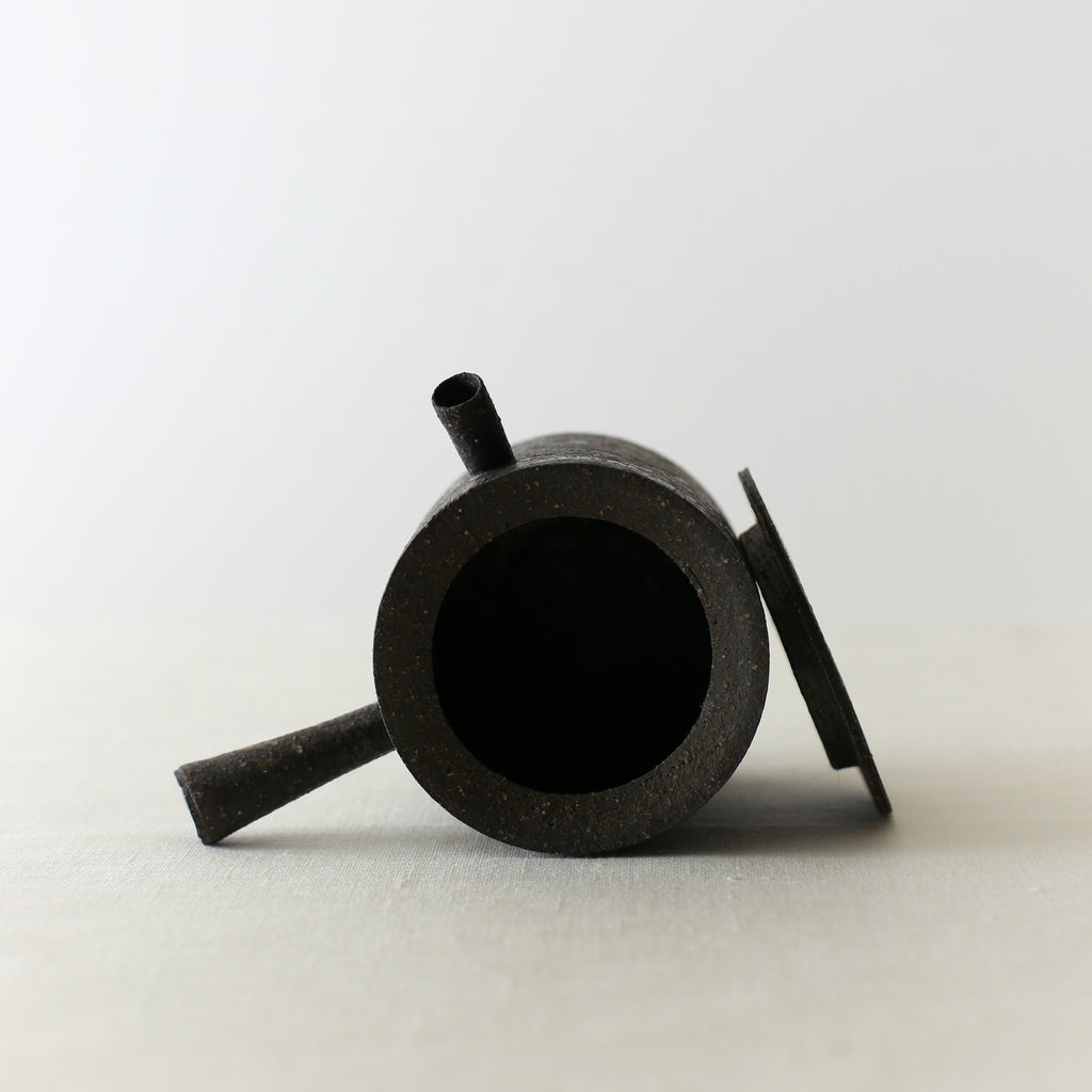 Handcrafted, Handmade, Artisan, Japanese, Ceramic, Pottery, Tea Pot, Black, Homeware, Kitchenware, Tableware, Monochromatic, Beautiful Quality, Unique, Art, Minimal, Made in Japan.
