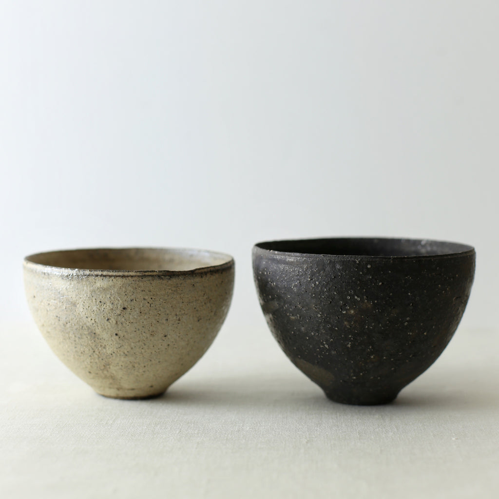 Handcrafted, Handmade, Artisan, Japanese, Ceramic, Pottery, Chawan bowl, Black, White, Homeware, Kitchenware, Tableware, Monochromatic, Beautiful Quality, Unique, Art, Minimal, Made in Japan.