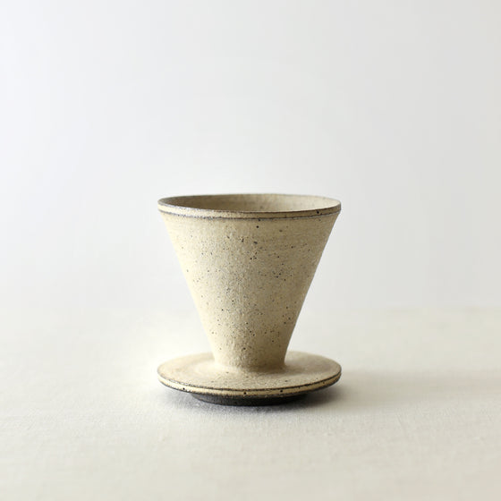Handcrafted, Handmade, Artisan, Japanese, Ceramic, Pottery, Coffee Dripper, White, Homeware, Kitchenware, Tableware, Monochromatic, Beautiful Quality, Unique, Art, Minimal, Made in Japan.