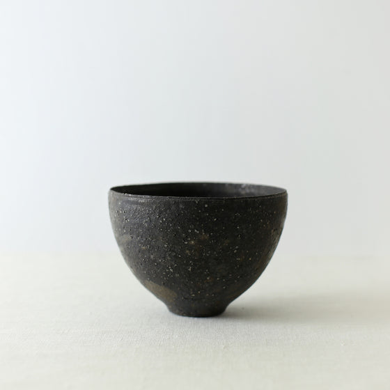 Handcrafted, Handmade, Artisan, Japanese, Ceramic, Pottery, Chawan bowl, Black, Homeware, Kitchenware, Tableware, Monochromatic, Beautiful Quality, Unique, Art, Minimal, Made in Japan.