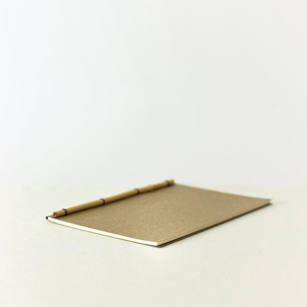 Japanese notebook, Handmade, Handcrafted, Paper, Bamboo pulp paper, Washi, Blank pages, Sepia colour, Made in Japan.