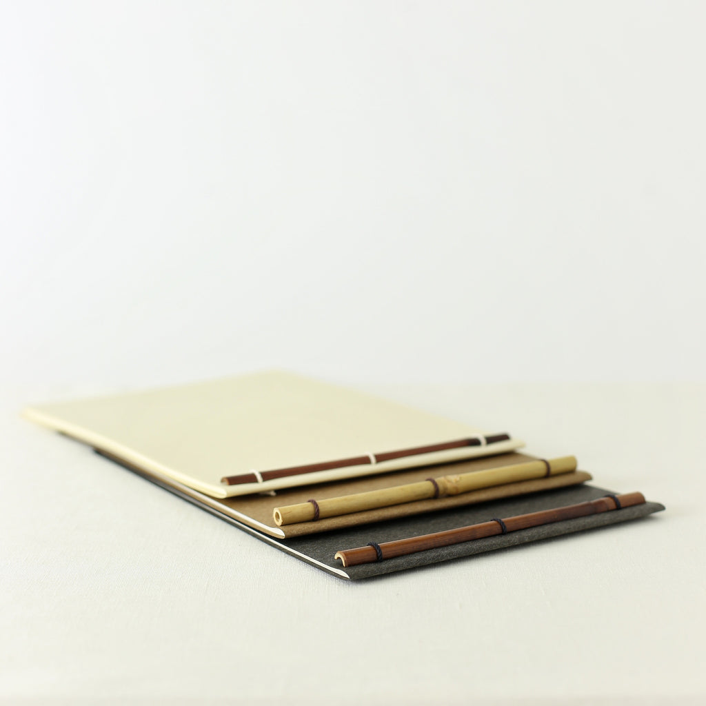Japanese notebook, Handmade, Handcrafted, Paper, Bamboo pulp paper, Washi, Blank pages, Made in Japan.