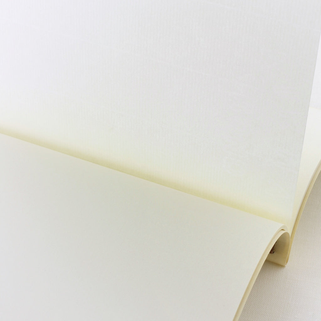 Close up of Japanese notebook, Handmade, Handcrafted, Paper, Bamboo pulp paper, Washi, Blank pages, Made in Japan.