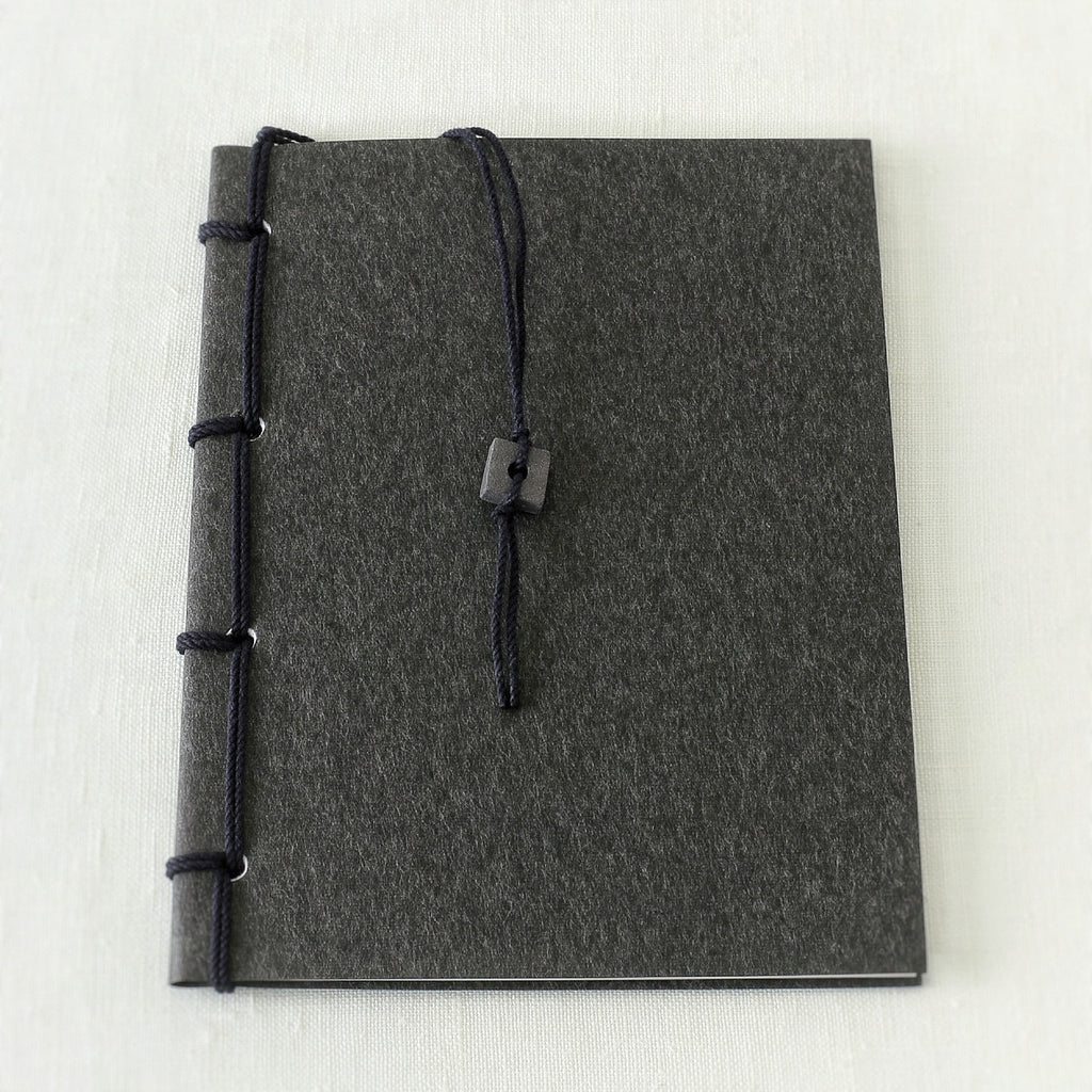 Japanese notebook, Handmade, Handcrafted, Paper, Bamboo pulp paper, Washi, Blank pages, Charcoal colour, Ceramic bead book marker, Beautiful Quality, Gifts, Made in Japan.