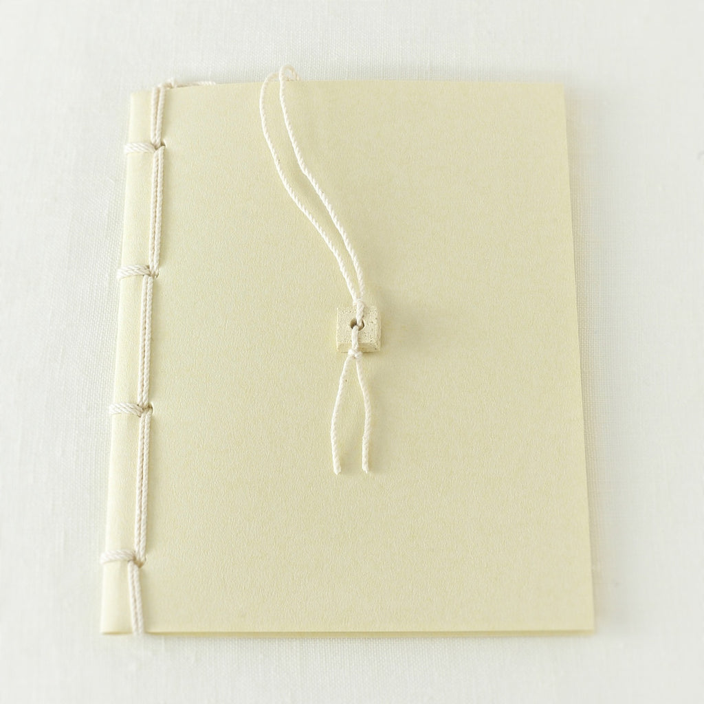 Japanese notebook, Handmade, Handcrafted, Paper, Bamboo pulp paper, Washi, Blank pages, Ivory colour, Ceramic bead book marker, Beautiful Quality, Gifts, Made in Japan.
