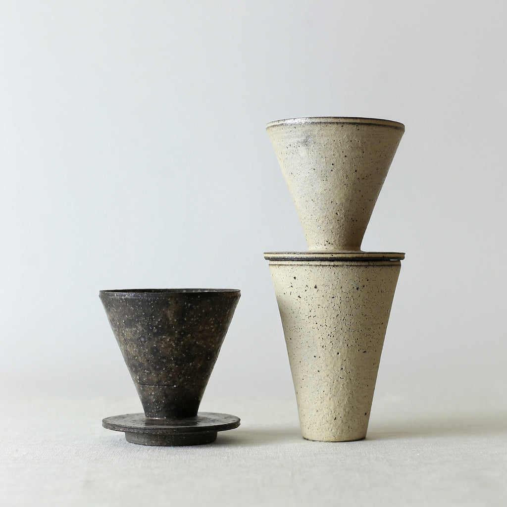Handcrafted, Handmade, Artisan, Japanese, Ceramic, Pottery, Coffee Dripper, White, Black, Tumbler, Homeware, Kitchenware, Tableware, Monochromatic, Beautiful Quality, Unique, Art, Minimal, Made in Japan.