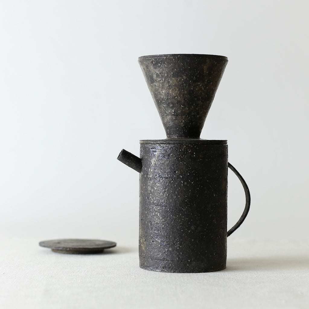 Handcrafted, Handmade, Artisan, Japanese, Ceramic, Pottery, Coffee Dripper, Pot, Black, Homeware, Kitchenware, Tableware, Monochromatic, Beautiful Quality, Unique, Art, Minimal, Made in Japan.