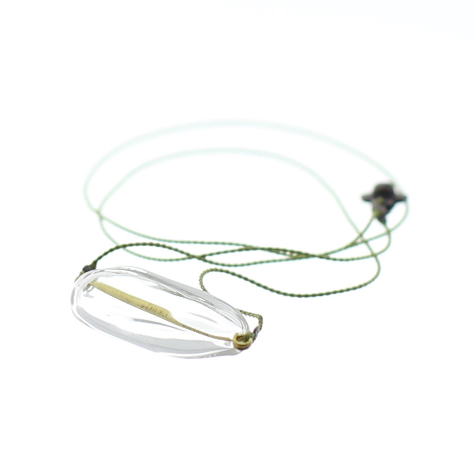 Close up of Air Bubble Pendant - Oval Spring Leaf Green Glass Neckless with Silk Thread Made in Japan
