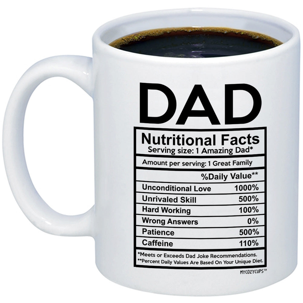 Funny Father's Day 11oz 15oz Coffee Mugs - Dad Nutritional ...