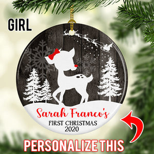 Personalized Christmas Tree Fawn Ornament
