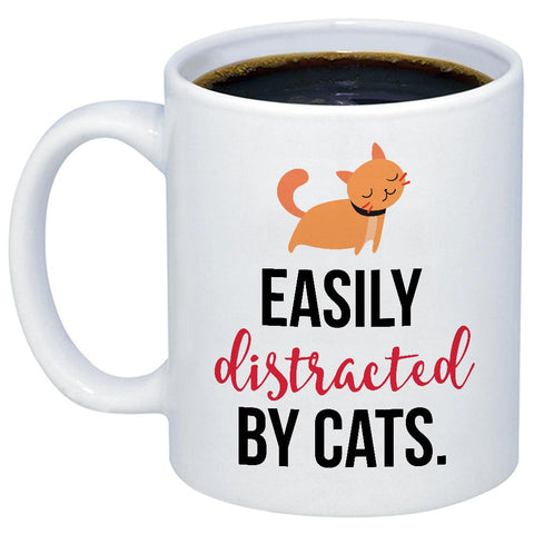 Easily Distracted By Cats 11oz 15oz Coffee Mug