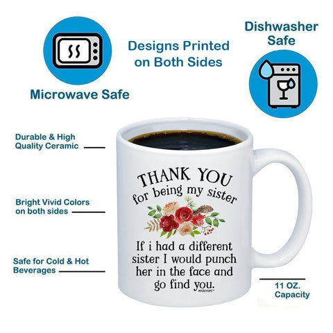Image of Thank You For Being My Sister 11oz 15oz Coffee Mug