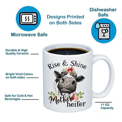 Image of Rise And Shine Mother Heifer 11oz 15oz Coffee Mug