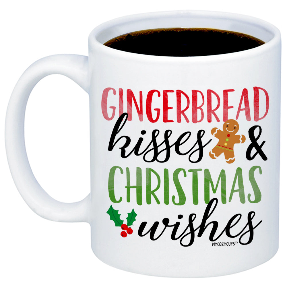 Christmas Coffee Mugs.Gingerbread Kisses And Christmas Wishes 11oz 15oz Coffee Mug