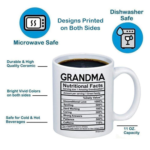 Grandma Nutritional Facts Label 11oz 15oz Coffee Mug