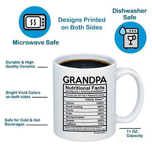 Grandpa Nutritional Facts Label 11oz 15oz Coffee Mug