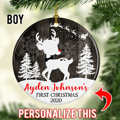 Image of Personalized Christmas Tree Fawn Ornament