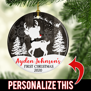 Personalized Christmas Tree Deer/Doe Ornament