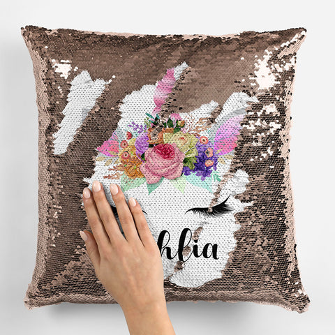 Image of Personalized Unicorn Sequin Pillowcase - Rose Gold 2