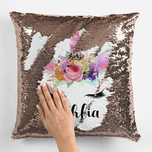 Personalized Unicorn Sequin Pillowcase - Rose Gold 2