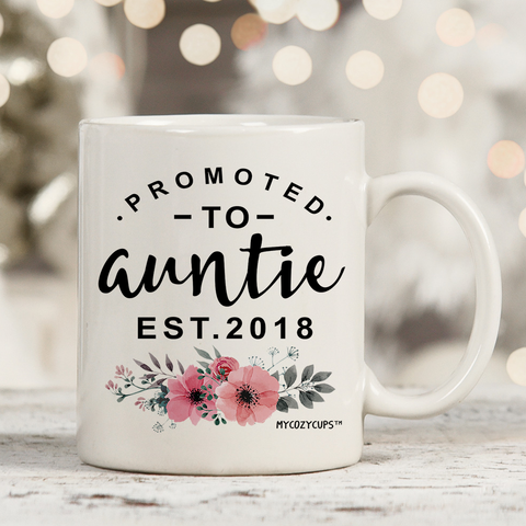 Promoted To Auntie 2018 11oz 15oz Coffee Mug