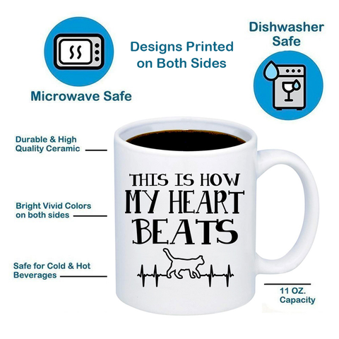 This Is How My Heart Beats Cats 11oz 15oz Coffee Mug