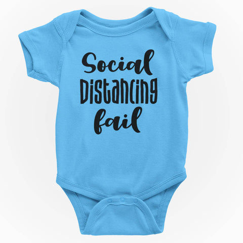 Image of Social Distancing Fail Funny Baby One Piece Bodysuit