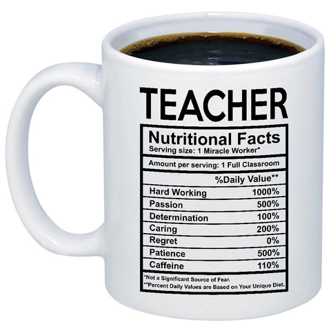 Teacher Nutritional Facts Label 11oz 15oz Coffee Mug