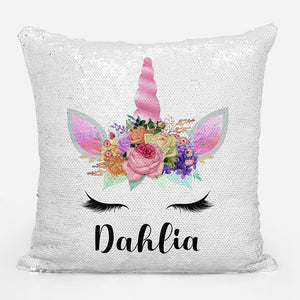 Personalized Unicorn Sequin Pillowcase - Rose Gold
