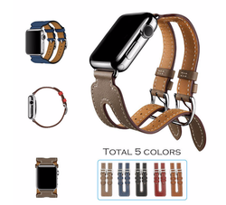 Leather Double Buckle Cuff - SmartWatchLuxury